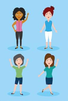 Vier vrouwen in vrijetijdskleding