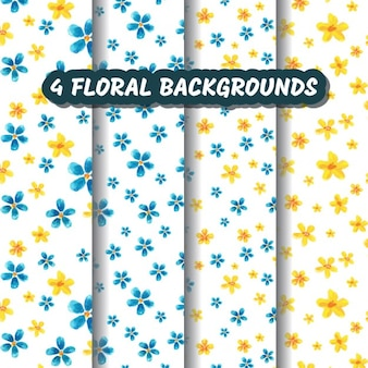 Vier watercolored bloemen achtergronden