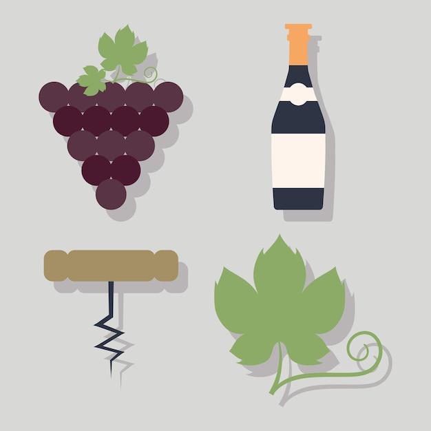 Vier wijn iconen