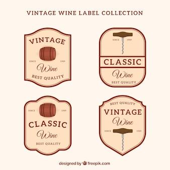 Vier wijnstickers in retro stijl