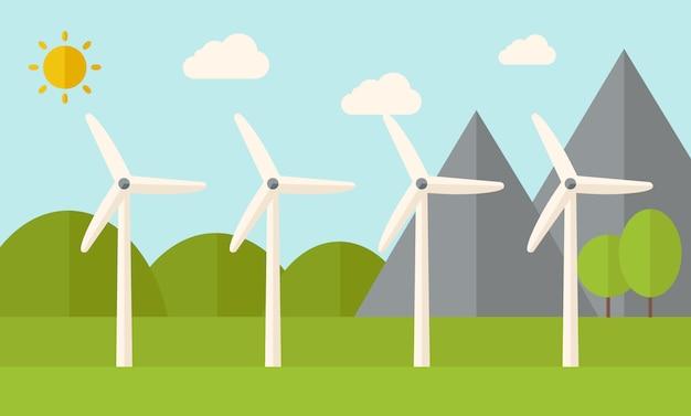 Vier windmolens