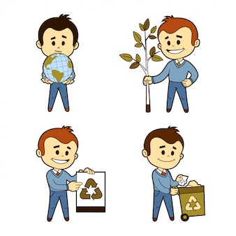 Vier zakelijke karakters. ecologie thema. de mensheid geeft om de zuiverheid van de planeet aarde. de mensheid beschermt het bos. mensen recyclen afval.