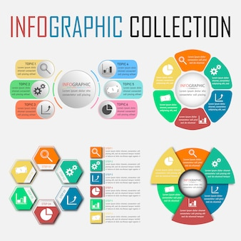 Vier zes stappen infographic collectie