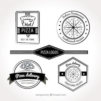 Vier zwarte en witte logo's voor pizza