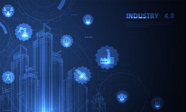 Vierde industriële revolutie op futuristische hud met industriële instrumenten van de wereldkaart globe