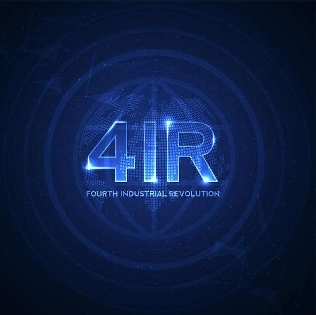 Vierde industriële revolutie op futuristische hud met wereldkaartbolconcept van automatisering