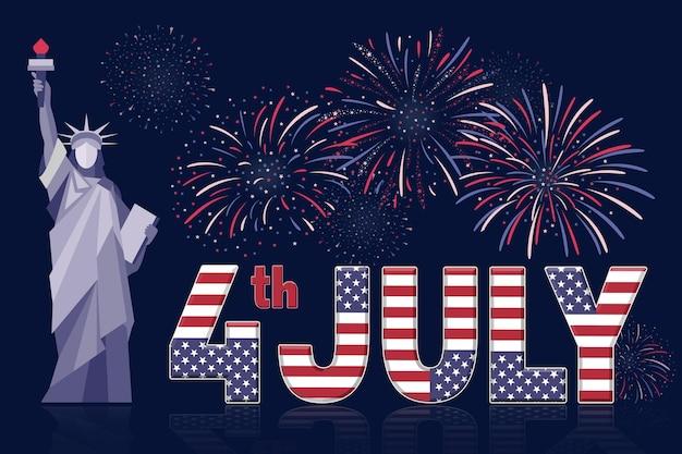 Vierde juli banner met vuurwerk op donkerblauwe achtergrond