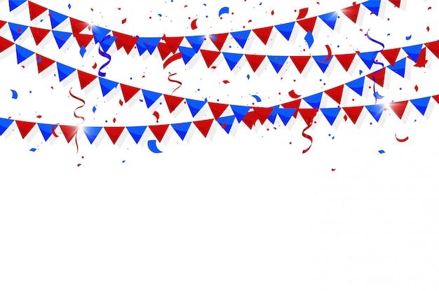 Vierde juli onafhankelijkheidsdag. kleurrijke bunting vlaggen