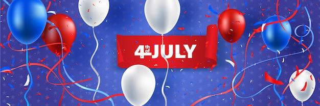 Vierde juli onafhankelijkheidsdag van de verenigde staten. ballon en lint vectorillustratie