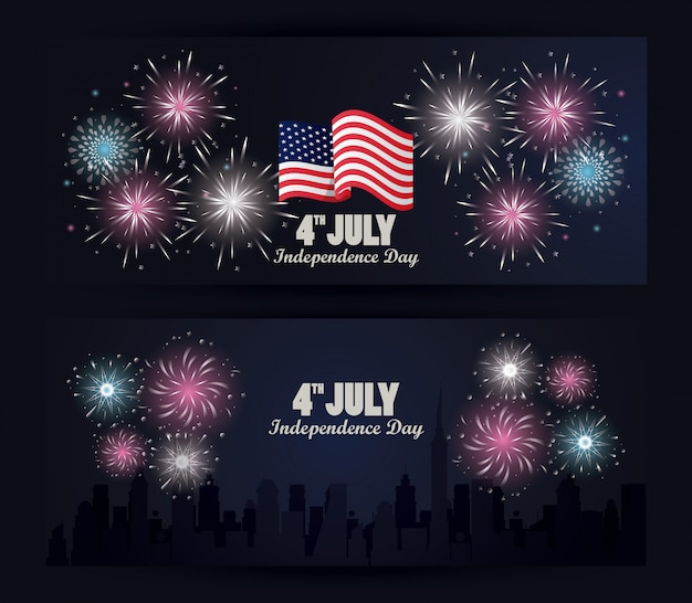 Vierde juli onafhankelijkheidsdag vs viering met vlag en vuurwerk