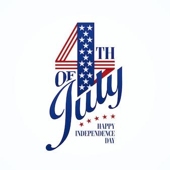 Vierde juli typografische belettering