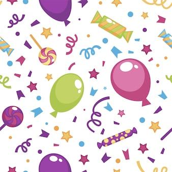 Vieren en feestelijke decoratie. opblaasbare ballonnen, confetti en sterren met snoepjes en zoete lolly's. naadloze patroon, achtergrond of print, decoratieve verpakking, vector in vlakke stijl