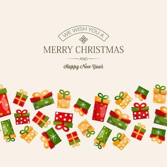 Vieren wintervakantie ontwerpconcept met groet inscriptie en kleurrijke geschenkdozen op lichte afbeelding