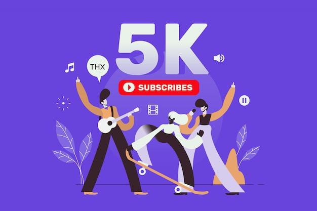 Vierende 5k-abonnees landingspagina volgers voor sociale media