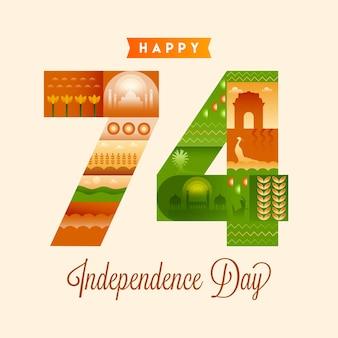 Vierenzeventig (74) jaar onafhankelijkheidsdag met indiase cultuur of erfgoed op achtergrond.
