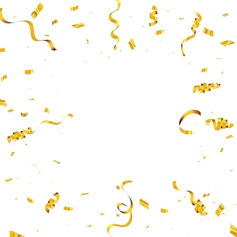 Viering achtergrond met confetti en gouden linten. luxe wenskaart rijk.