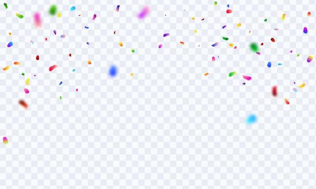 Viering achtergrond sjabloon met confetti en kleurrijke linten