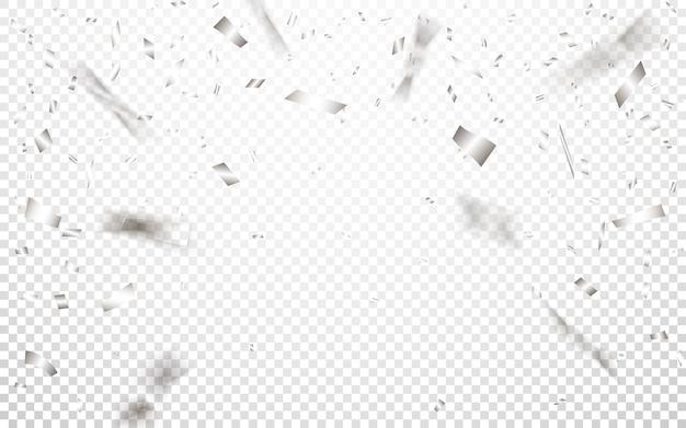 Viering achtergrond sjabloon met zilveren confetti.