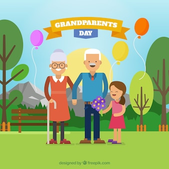 Viering achtergrond van grootouders dag met kleindochter