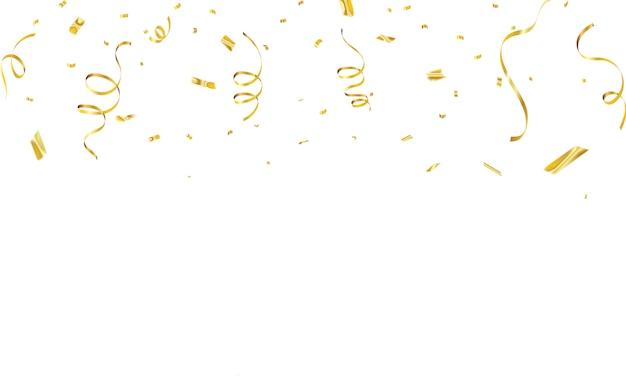 Viering achtergrondsjabloon met confetti gouden linten. luxe wenskaart rijk.