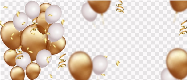 Viering banner met gouden confetti en ballonnen geïsoleerd