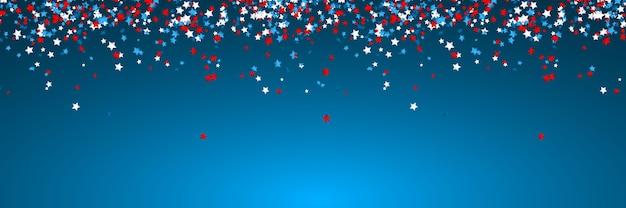 Viering confetti in nationale kleuren van de vs. vakantieconfetti in amerikaanse vlagkleuren. 4 juli onafhankelijkheidsdag