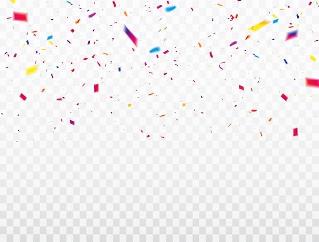 Viering confetti linten frame. luxe groet rijke kaart.