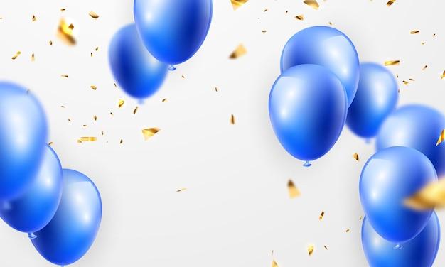Viering partij banner met blauwe kleur ballonnen achtergrond. verkoop vectorillustratie. grand opening card luxe groet rijk. kadersjabloon.