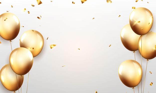 Viering partij banner met gouden ballonnen achtergrond. verkoop vectorillustratie. grand opening card luxe groet rijk. Premium Vector
