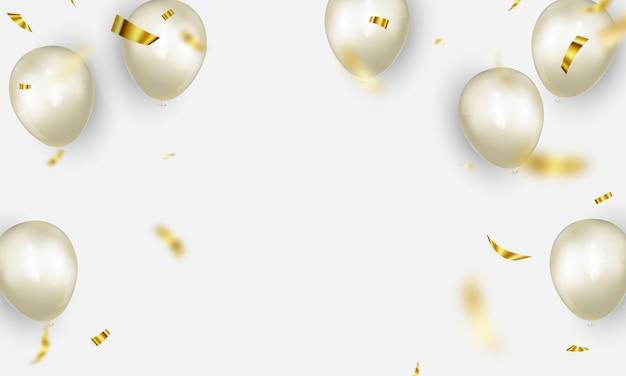 Viering partij banner met witte kleur ballonnen achtergrond. verkoop illustratie. grand opening card luxe groet rijk.