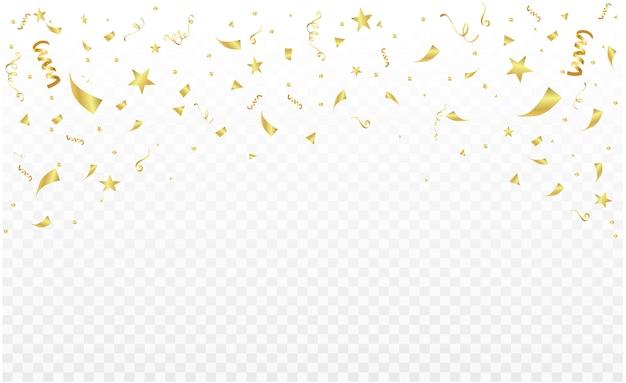 Viering partij decoratie frame sjabloon met confetti en gouden linten. luxe wenskaart rijk.