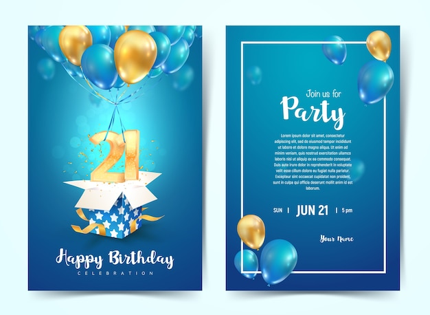 Viering van de 21e jaar verjaardagskaart. eenentwintig jaar jubileumviering brochure. sjabloon voor uitnodiging voor afdrukken op blauwe achtergrond.