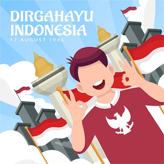 Viering van de onafhankelijkheidsdag van indonesië op 17 augustus (dirgahayu republik indonesië). indonesische nationale vlaggen. vectorillustratie