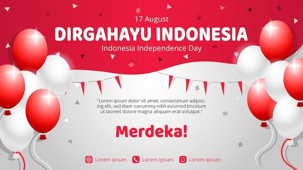 Viering van de sjabloon voor spandoek van de onafhankelijkheidsdag van indonesië met confetti en ballonnen