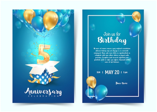 Viering van de uitnodigingskaarten van de vijfde jaarverjaardag. vijf jaar jubileumfeest. print sjablonen van invitational op blauwe achtergrond