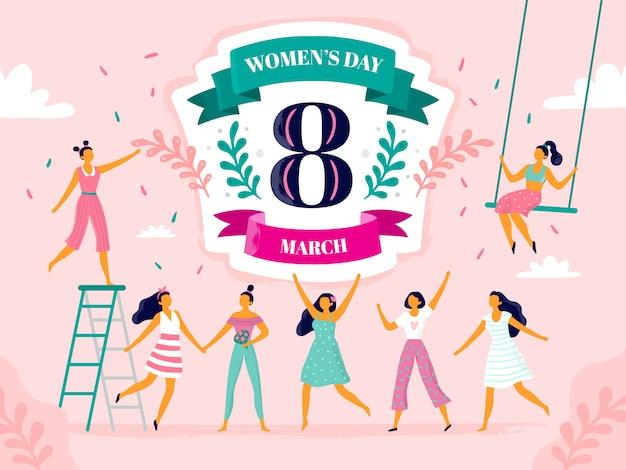 Viering van de vrouwendag, acht maart viering, gelukkige lachende vrouw en internationale vrouwelijke vakantie flat