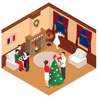 Viering van kerstmis isometrisch ontwerp