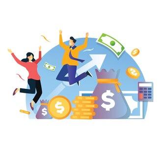 Viering van stijgende investeringen met hoge winst illusration