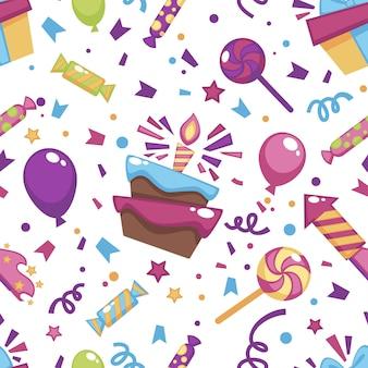 Viering van verjaardag, cake met aangestoken kaars, lolly met cadeautjes en snoepjes. opblaasbare ballon en confetti. naadloze patroon, achtergrond of print, decoratieve verpakking, vector in vlakke stijl