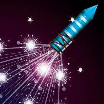Viering van vuurwerk nacht scène pictogram
