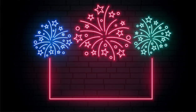 Viering vuurwerk neon frame achtergrond