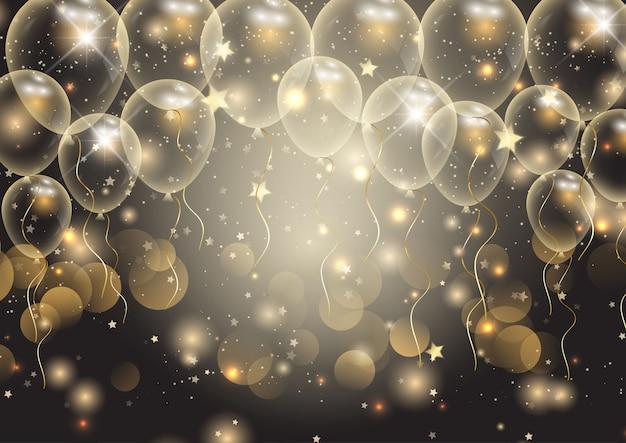 Vieringen achtergrond met gouden ballonnen