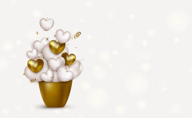 Vieringen achtergrond voor valentijnsdag. gelukkige verjaardag-wenskaart. gouden kom, vliegende 3d harten, confetti, serpentijn. illustratie.