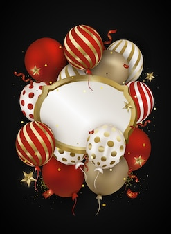 Vieringen lucht 3d ballonnen, confetti, sparkles.