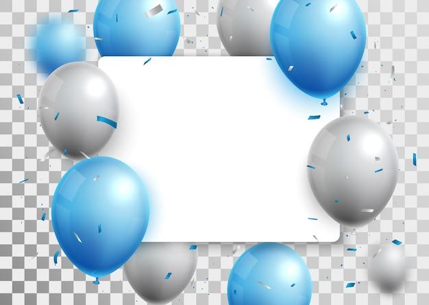 Vieringen met blauwe en zilveren ballonnen