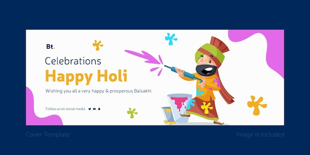 Vieringen van happy holi facebook cover design