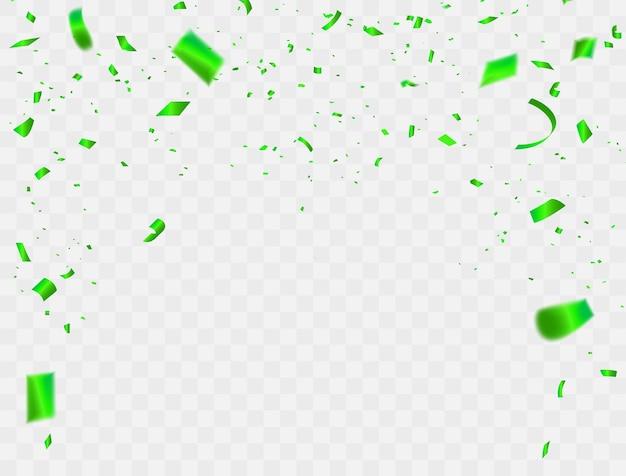 Vierings achtergrondconfettien en groene linten.