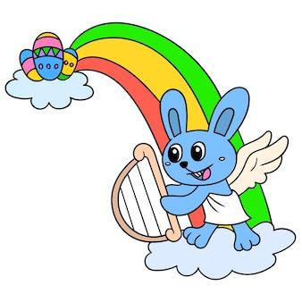 Vieringsbeeldverhaal het welkom heten met paasdag met het konijn en de regenboog van de fantasieengel, illustratieart. doodle pictogram afbeelding kawaii.