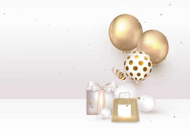 Vieringssjabloon met cadeaupakket van heliumballon