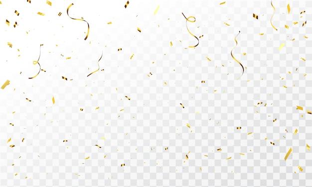 Vieringssjabloon met confetti en gouden linten. luxe wenskaart rijk.